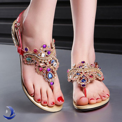 2015 new real genuine leather Bohemian style Sandals Women Indian ethnic style Flat Rhinestone summer female shoes / flip flops