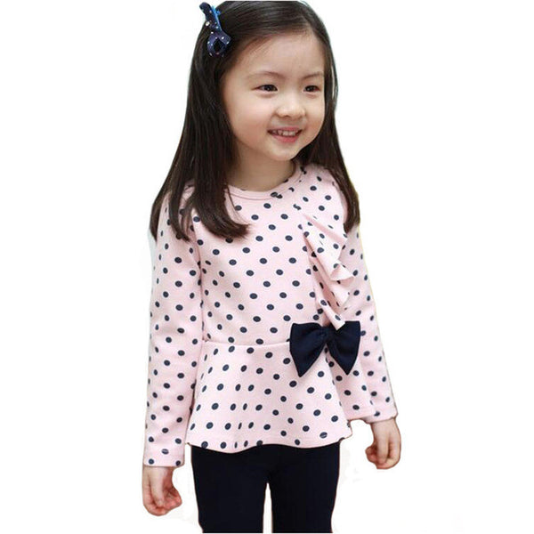WEONEDREAM 2017 Girls Clothes Baby Girl Clothing Set Children Dot Cute Suit 2pcs Kids Twinset Top T Shirt + Solid Pants Leggings