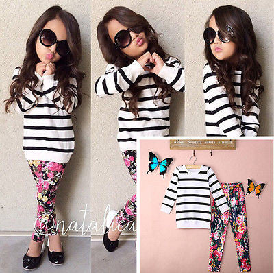 - Fashion accessories ,clothing, jewelry, Baby Kids Girls Clothes Stripe T-shirt Tops + Floral Leggings 2pcs Outfit Sets - clothing, Gorgeous things online - gorgeous things online