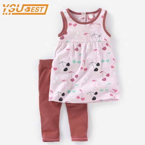 1-5yrs Baby Girls Clothing Sets Summer Cute Girls Clothes Set Top + Pants Children Fashion Cotton Suits Girl Dress + Leggings