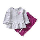 Spring and Autumn Baby Girls Clothing Set Girl Gray T-shirt Top + Purple Legging Girls Clothes