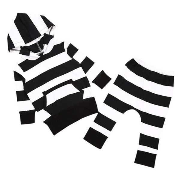 Newborn Kids Baby Girl Boy Clothes Tops T-shirt+Pants Leggings Striped 2 pcs Outfits Set