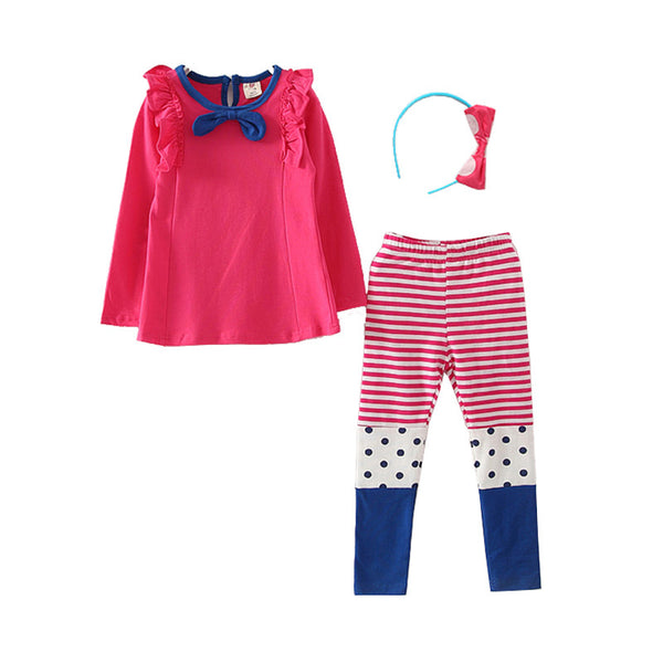 - Fashion accessories ,clothing, jewelry, 2017 Fall Girls Clothes Baby Girl Clothing Set Children Blue Bow Casual Suit 3PCS Kids Red Top T Shirt +Long Leggings+Hair Hoop - clothing, Gorgeous things online - gorgeous things online