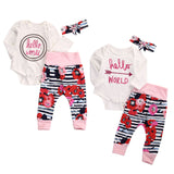 - Fashion accessories ,clothing, jewelry, 3 Pcs Newborn Baby Girl Bodysuit onesie top+Flower Pants Leggings+Headband Outfits Infant Kids Letter Hello circle Clothes Set - clothing, Gorgeous things online - gorgeous things online