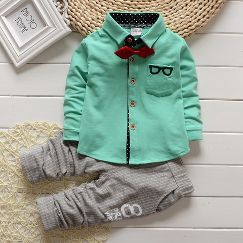 - Fashion accessories ,clothing, jewelry, 2015 Korean Baby Boy girls Clothing Sets children Bow tie T-shirts glasses cartoon+ pants kids cotton cardigan two piece suit - clothing, Gorgeous things online - gorgeous things online