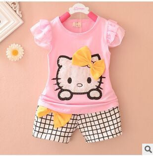 Free shipping 2016 summer baby clothing set with cartoon print nice cotton baby girls suit A046
