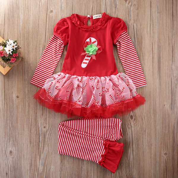 New Toddler Infant Girls Christmas Outfits Set Lace Long Sleeve T-Shirt Tutu Dress Striped Long Pants Kids Girl Red Clothes Set
