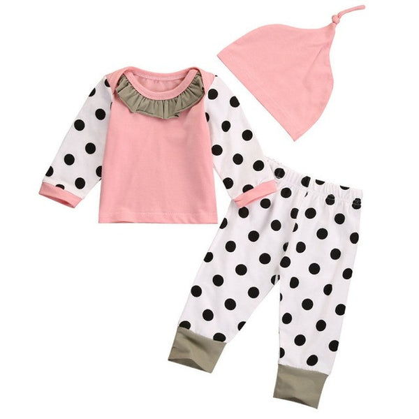Newborn Baby Boy Girl Pink Outfits Tops Dot Pants Legging Hat Clothes Set 3 PCS