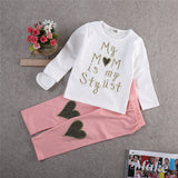 Heart Pattern Toddler Girls Clothing Sets Baby Kids Heart Top T Shirt +Leggings Kids 2PCS Baby girl Outfit