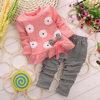 2015 Girls clothes Baby Girl Clothing Set Children Flower Bow Cute Suit 2PCS Kids Twinset Top T Shirt  Plaid Pants Leggings