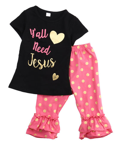 1 Set Baby Girls Clothing 2017 New Summer Kids Baby Girls Short Sleeve T-shirt Tops+Polka Dot Leggings Pants 2pcs Outfits Set