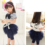 - Fashion accessories ,clothing, jewelry, Cute Kids Girl Stripe Bowknot Top T-shirt+Tutu Skirt Leggings Culottes 2Pcs/Set Outfit Clothing for girls - clothing, Gorgeous things online - gorgeous things online