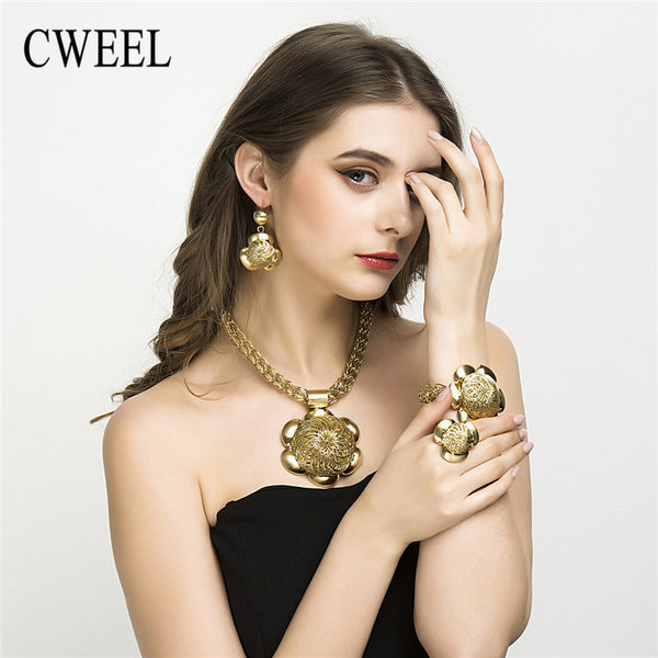 - Fashion accessories ,clothing, jewelry, CWEEL Costume Jewelry Set Bracelet Ring Earring African Dubai Gold Plated Flower Big Pendant For Women Party Vintage Style - clothing, Gorgeous things online - gorgeous things online