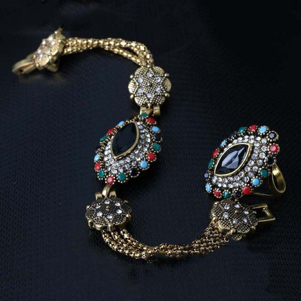 Hot Sale Jewelry Sets Dubai Gold Plated Tibetan Silver Alloy Colorful Chain And Drop Ring Wedding Jewelry