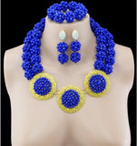 Fashion High Quality Nigerian Wedding African Beads Jewelry Sets Blue Crystal Dubai Gold Plated Big Jewelry Sets Costume