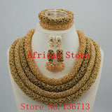 Hot 2016 Red Nigerian Wedding African Beads Jewelry Set Dubai Gold Plated Set Bridal Jewelry Neckalce Sets Free Shipping ST403-3