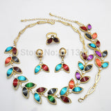 - Fashion accessories ,clothing, jewelry, Dubai Gold Plated Mixed Color Resin Leaf Jewelry Sets Necklace Earrings Bracelet Ring - clothing, Gorgeous things online - gorgeous things online
