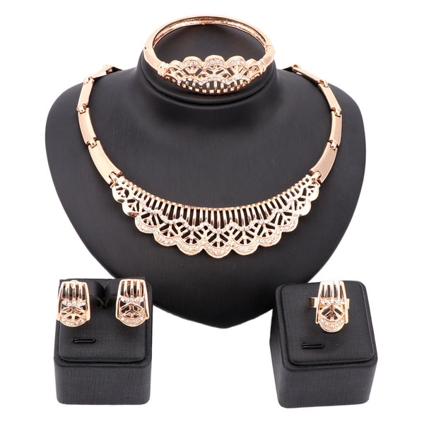 Fashion Dubai Gold Plated Crystal Necklace Jewelry Sets Costume Big Design Nigerian Wedding African Jewelry Sets