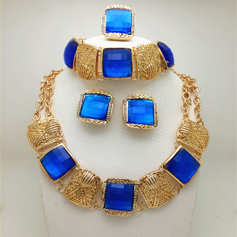 2016 Fashion African Beads Jewelry Set Dubai Gold Plated Jewelry Set Bracelet Earrings Rings Long Neclace Women Party