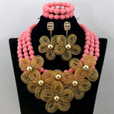 Pretty Yellow Coral Beaded African Jewelry Set Dubai Gold Flower Chunky Necklace Bracelet Earrings Bridal Beads Free Ship QW734