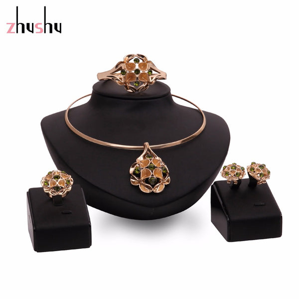 Fashion Flower Necklace and Earring 2 Colors Bride vintage chain Dubai Jewelry Sets Austrian Crystal For Women Wedding Gift