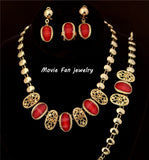 Fashion Design Dubai Jewelry Gold Color Plated red resinNecklace Set, Wedding/ Bridal Jewelry set african set SJT019