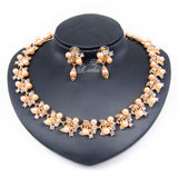 Russian women Acessories Bridal wedding  Jewelry SetsFashion Imitation Pearl  Dubai Gold Plated Necklace set