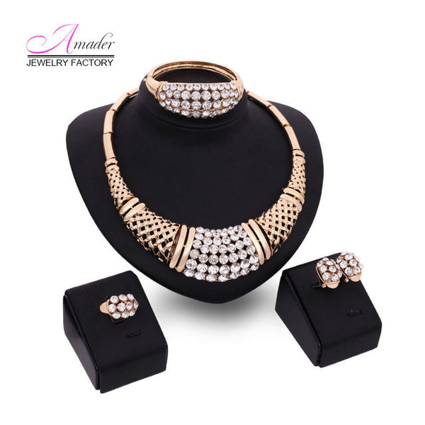 Fine Women Gold Glated Jewelry Set For Wedding Fashion Crystal Dubai Necklace Earrings Bracelet Rings Sets Dress Accessories