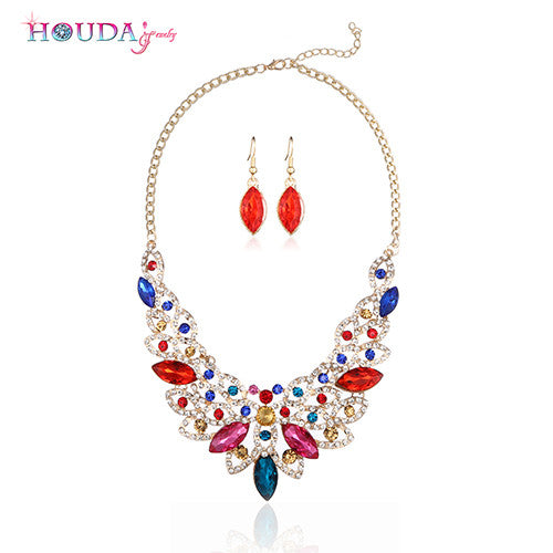 HOUDA Fashion Crystal Necklace & Earrings for Party 3 Colors Choker Dubai African Beads Parure Bijoux Femme A0005  Jewelry Sets