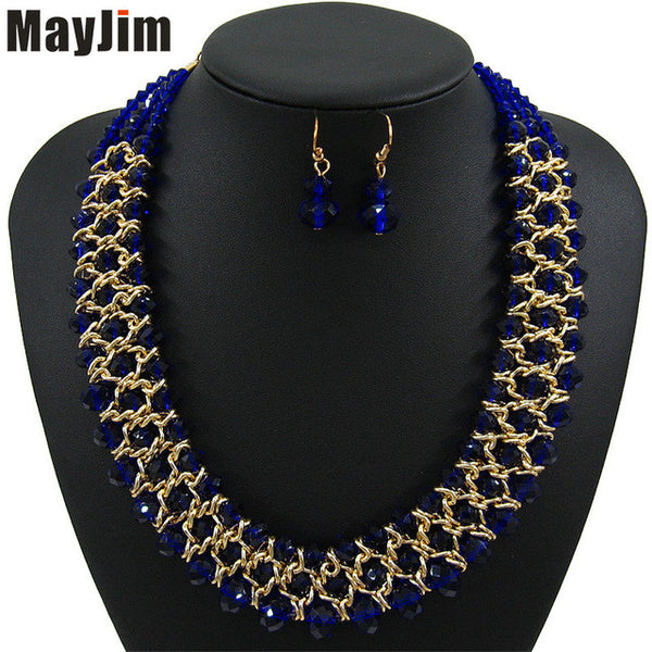 Statement necklace fashion jewelry sets Handmade big beads chain crystal dubai jewelry sets Vintage beads Bijoux Accessories