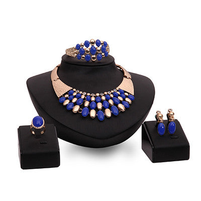 Jewelry Sets African Beads Collar Statement Necklace Earrings Bracelet Ring For Women  Wedding Accessories Dubai jewellry set