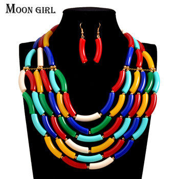 Moon Girl design Nigeria wedding choker fashion african beads jewelry set  braid Necklace earrings dubai jewelry sets for women
