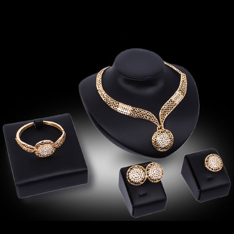 2016 Big Costume Dubai Jewelry Set Gold Plated Top Gorgeous Nigerian Wedding African Beads Jewelry Set For Women  FAS045