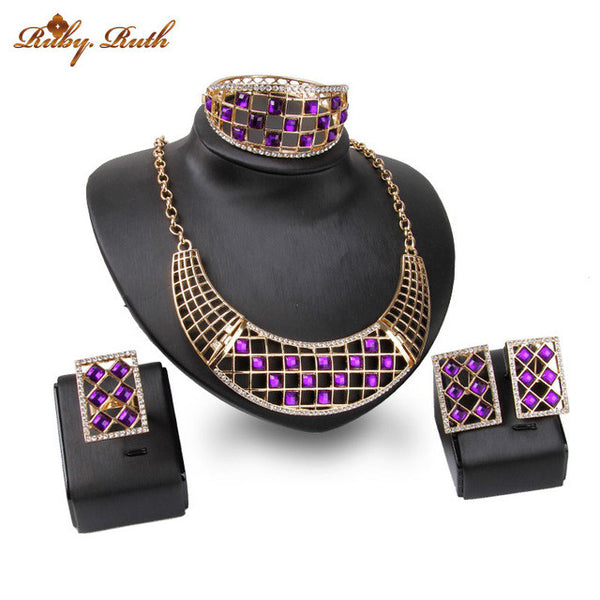 jewelry set Square hollow out African dubai necklace earrings bracelet ring black purple  three colors crystal 2017
