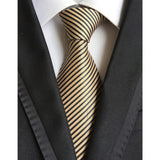 "- Fashion accessories ,clothing, jewelry, Factory Novelty 3.1"" Classic Mens Ties 100% Silk Solid Gold w/ Black Stripes Jacquard Woven Wedding Party Prom necktie Neck Tie - clothing, Gorgeous things online - gorgeous things online"