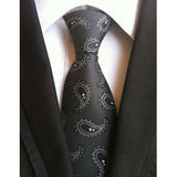"- Fashion accessories ,clothing, jewelry, Factory Novelty 3.1"" Classic Mens Ties 100% Silk Black w/ Gray Paisley Turkey Dobby Jacquard Woven Accessories necktie Neck Tie - clothing, Gorgeous things online - gorgeous things online"