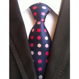 "- Fashion accessories ,clothing, jewelry, Factory Novelty 3.1"" Classic 100% Silk Mens Ties navy blue white pink rose polka dot Jacquard Woven Accessories necktie Neck Tie - clothing, Gorgeous things online - gorgeous things online"