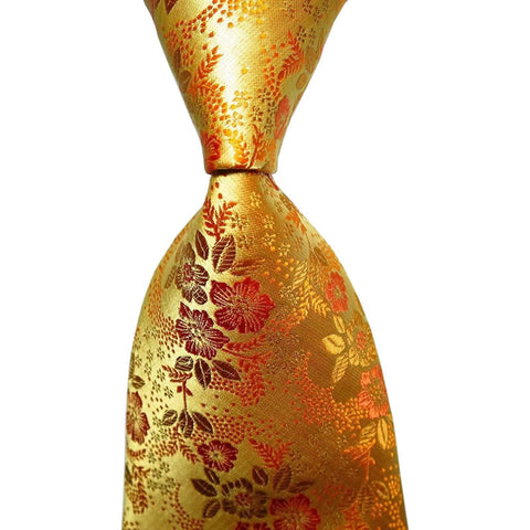 1 PC Classic Floral Yellow Gold  Silk Men's Tie Necktie Party Wedding