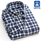 Langmeng 2016 men flannel plaid shirts brand design new male casual shirts 100% cotton  long sleeve dress shirts chemise homme