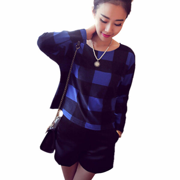 Fashion Women O-Neck Long Sleeve Blouse Girl Casual Plaid Checks Tops