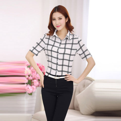 top - Fashion accessories ,clothing, jewelry, 2017 Square Summer Autumn Women Blouse Shirt Plaid Tops Short Sleeve Blusa Feminina Plus Size - clothing, Gorgeous things online - gorgeous things online