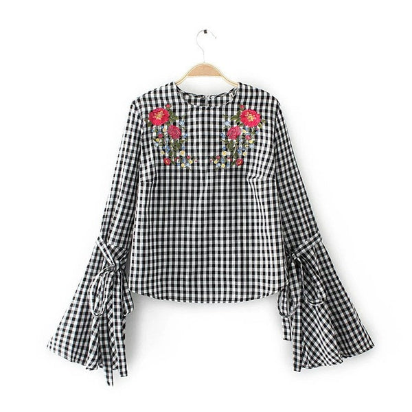 Women Fashion Flower Embroidery Blouse Flare Sleeve Shirt  O Neck Long Sleeve Plaid Blouse Femme Brand Tops 03147777