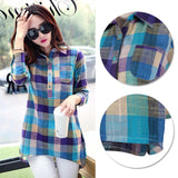 top - Fashion accessories ,clothing, jewelry, 2017 New Autumn Fashion Women Casual Loose Long Sleeve Cotton Linen Check Shirt Tops Blouse - clothing, Gorgeous things online - gorgeous things online