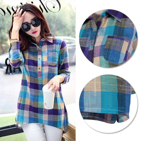 2017 New Autumn Fashion Women Casual Loose Long Sleeve Cotton Linen Check Shirt Tops Blouse