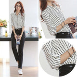 Fashion Women's Summer Striated Tops Long Sleeve Casual Loose Blouse