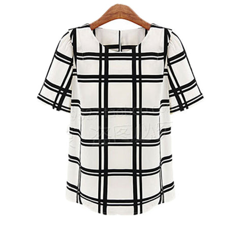 top - Fashion accessories ,clothing, jewelry, Chiffon Blusa Femininas 2017 Big Plaid Summer Ladies Tops Women Blouses Plus Size Puff Short Sleeve with Zipper Elegant Blouse - clothing, Gorgeous things online - gorgeous things online
