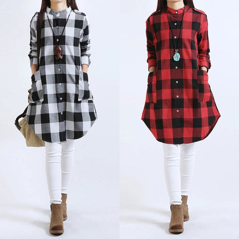 Fashion Blusas 2017 COCKCON Autumn Women Plaid Shirts Blouses Long Casual Loose Vintage Dress Tops Oversize M-XXL