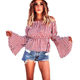 top - Fashion accessories ,clothing, jewelry, 2017 New Sexy Women's Spring Autumn Strapless Plaid Loose Shirts Long Flare Sleeves Stretchy Neck Casual Blouse Tops Plus Size - clothing, Gorgeous things online - gorgeous things online