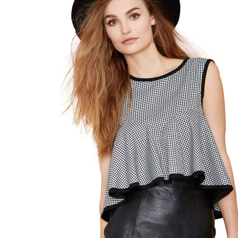 top - Fashion accessories ,clothing, jewelry, Color Block Fashion Short Tops Women Sleeveless O-neck Female Zippers Tee Casual High Low Ruffles Blouse For Wholesale - clothing, Gorgeous things online - gorgeous things online