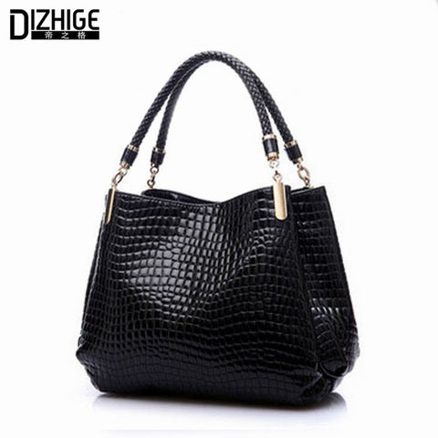 2015 Alligator Leather Women Handbag Bolsas De Couro Fashion Famous Brands Shoulder Bag Black Bag Ladies Bolsas Femininas Sac